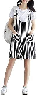 Women Wide Leg Pants Striped Cotton Linen Overall Jumper Sleeveless Rompers Shorts