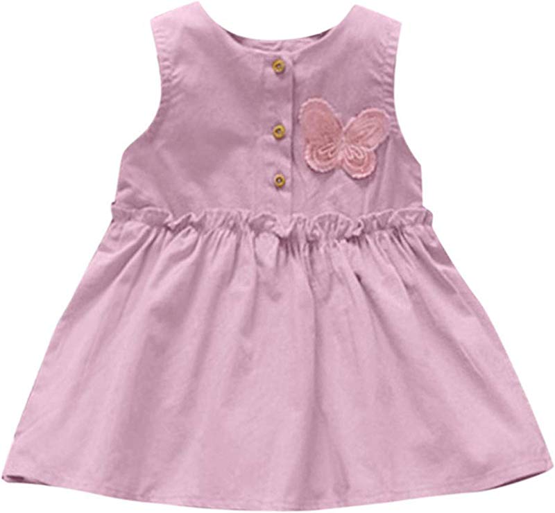 Baby Girls Solid Sleeveless Butterfly Dress Princess Dress Casual Infantil Sg Pink 18M United Ates