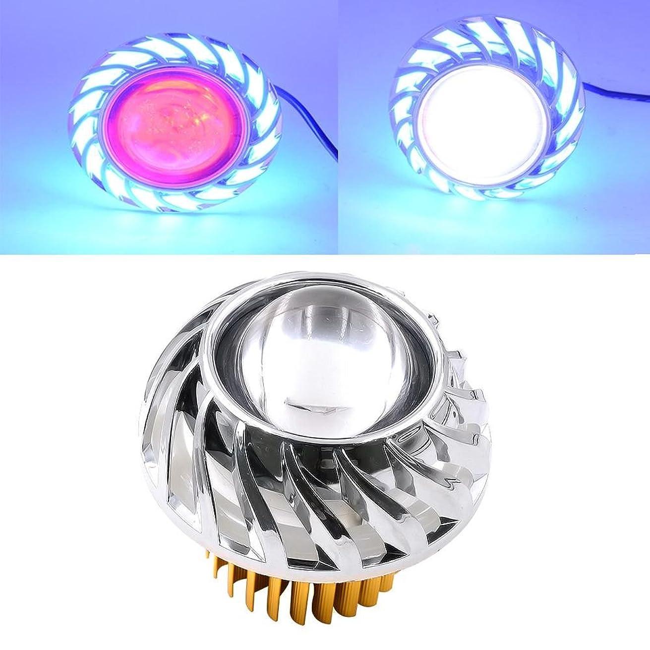 Quaanti 2018 New Arrival High/Low Beam LED Headlight For Motorcycle Angel Eyes White Devil Eye light car styling (Blue)