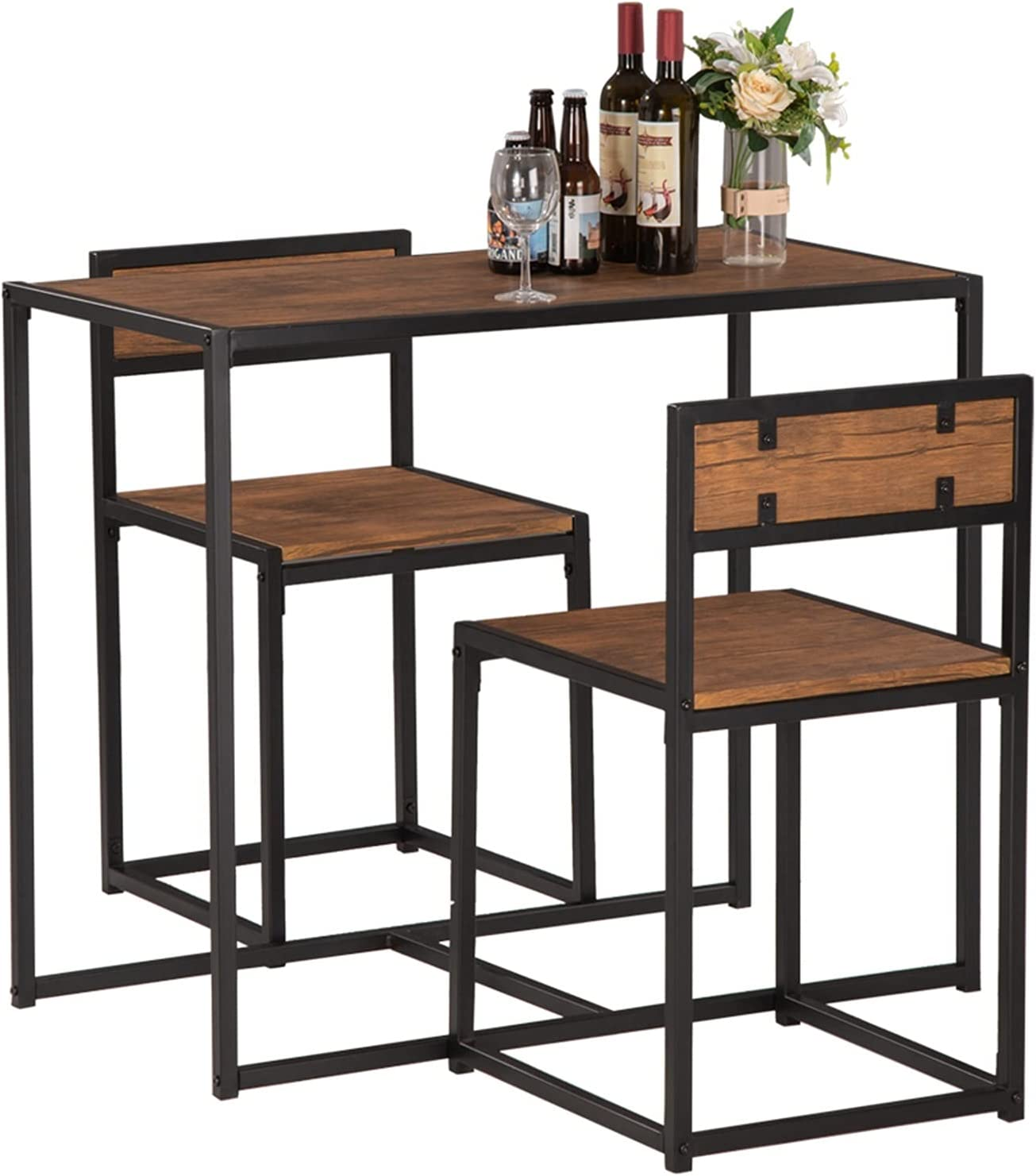 ZHM 3-Piece Table and Chair Set - Compact Inventory cleanup selling sale Dining Space Bar Small Chicago Mall