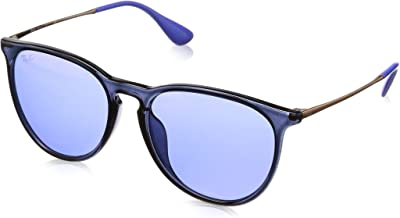 RAY-BAN RB4171F Erika Round Asian Fit Sunglasses, Blue/Dark Violet Mirror Red, Dark Violet Mirror Red