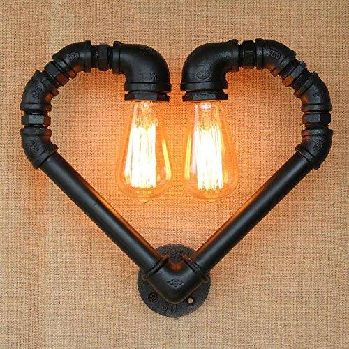 NIHE Tubes d'eau Vintage Heart Loft Lampe murale Applique murale industrielle Luminaires de chevet pour éclairage domestique Bar Cafe Salon Wall Light