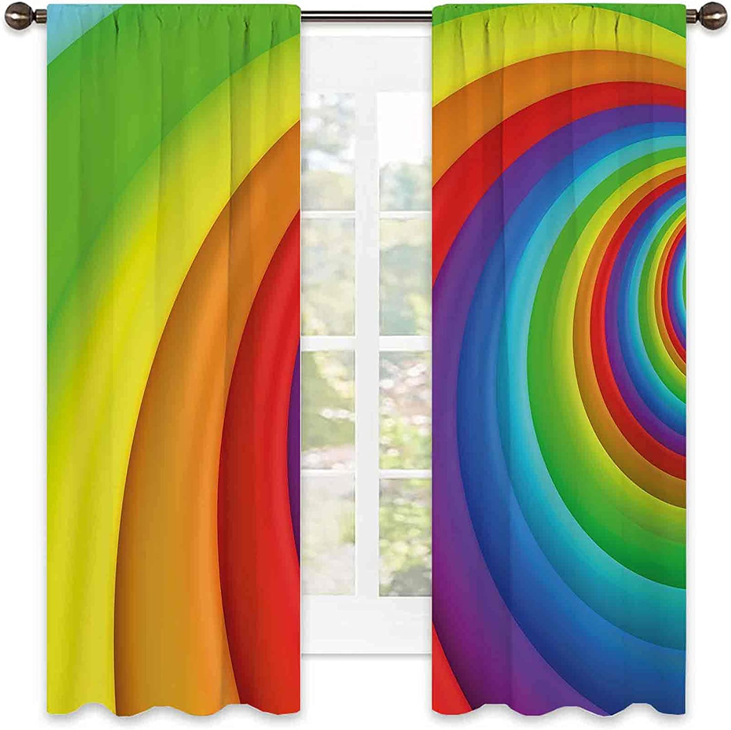Free shipping on posting reviews Rainbow Shading Insulated Curtain Free shipping New Colored Half Circles
