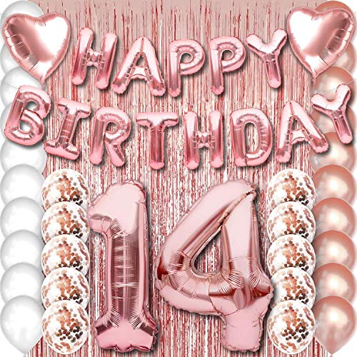 14th Birthday Party Decorations Rose Gold Supplies Big Set for Girls with Happy Birthday Balloons Banner and 14 Digit Balloon for Her Including Latex and Confetti Balloons