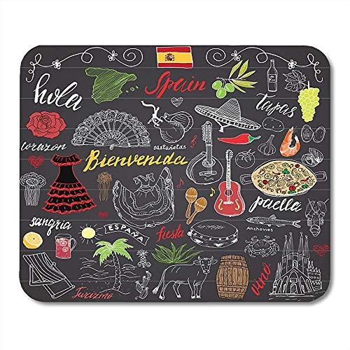 Edmun Mauspads Spanien kritzelt Lebensmittel-Paella-Garnele-Oliven-Trauben-Fan-Wein-Fass-Gitarren-Musik Mousepad für Laptop-Computer Mauspads