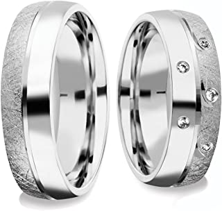 Double Ring Set Wedding Rings 925 Silver Pair Price Wedding Rings Ring Silver Ring Couple Simple Friendship Rings with Cubic Zirconia Crystal Engagement Ring with Luxury Case FF382SS925 ZIFA P