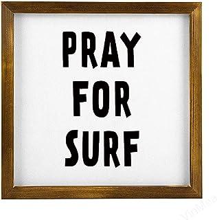 "VinMea Home Decor Wood Sign Pray for Surf Framed Wood Sign,Rustic Wall Art Sign 12""x12"""