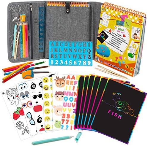Fun Activity Kit Case for Kids 3 Includes Colored Pencils Stencil 60 Page Activity Book with product image
