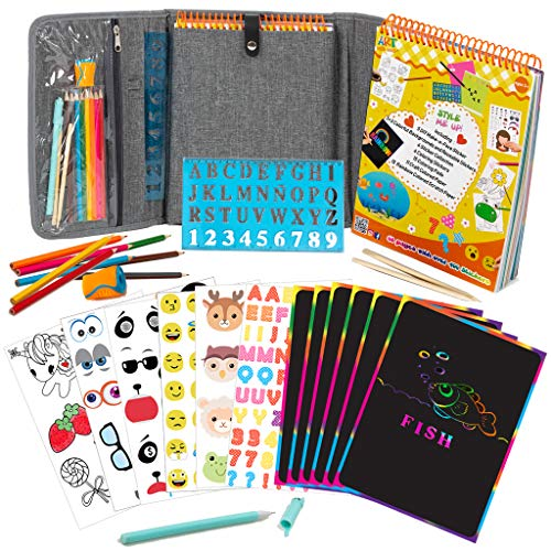 Fun Activity Kit Case for Kids 3+ Includes Colored Pencils, Stencil, 60-Page Activity Book with Reusable Kids Stickers, Rainbow Scratch-Off Paper, Coloring Pages, More by Art with Smile