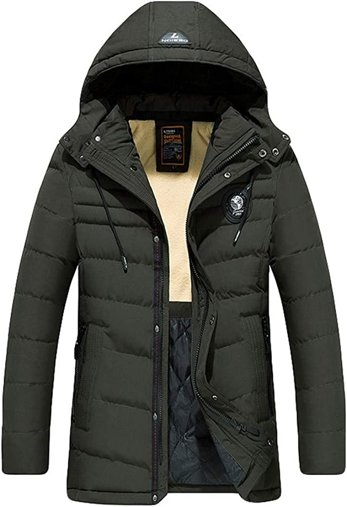 Men's Long Down Coat with Hood Long Sleeve Winter Warm Outdoor Windproof Outwear