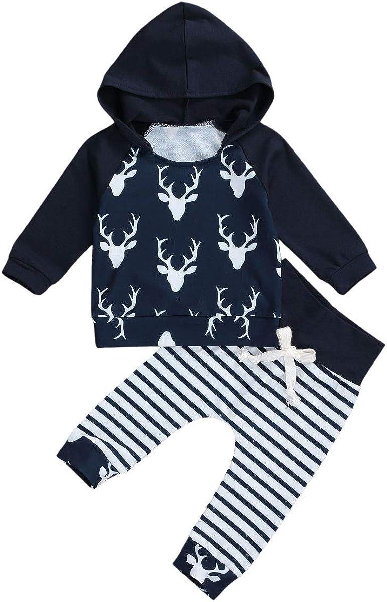 Newborn Unisex Baby Boy Girl Fall Clothes Long Sleeve Pullover Sweatshirt Top+Drawstring Pants Leggings 2PCS Pajamas Set