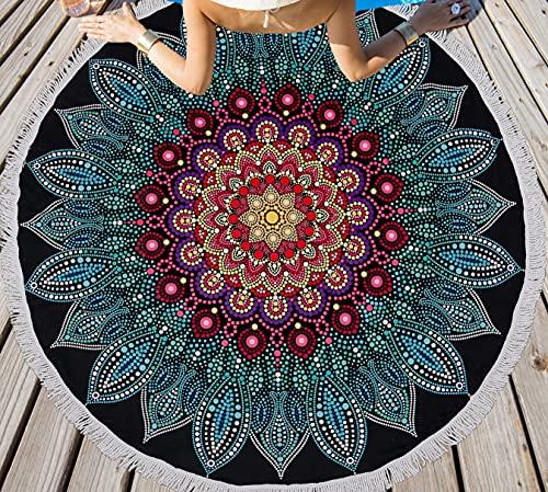 LIVILAN Soft Large Round Microfiber Boho Mandala Beach Towel Blanket, Bohemian Absorbent Fast Dry Sand Free Picnic Yoga Mat Wall Hanging Table Cloth Hippy Gypsy Wall Decor Gift with Tassels,Blank 59''