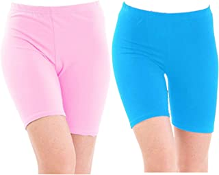 Pixie Biowashed 220 GSM Cotton Lycra Cycling Shorts for Girls/Women/Ladies Combo (Pack of 2) - Free Size