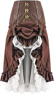Houshelp Women's Gothic Steampunk Skirt Victorian High-Low Bustle Skirt Halloween Asymmetrical Hippie Party Skirt