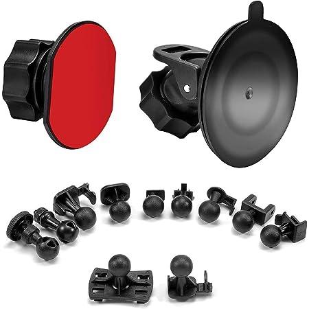 SoeKoaドライブレコーダー 吸盤 マウント および接着剤マウント360度回転 吸盤式 ホルダー ブラケット、10+つ異なるアダプタ付け、VANTRUE、Silintion、APEMAN、YI、Anero、Chortau、MILKFAT、Muson、2 x接着剤両面接着テープ、3 xワイプ(乾湿両方)