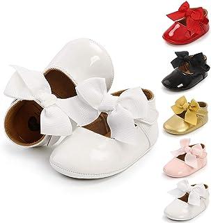 BiBeGoi Mary Jane Chaussures de ballet pour bébé fille avec nœud et semelle antidérapante souple