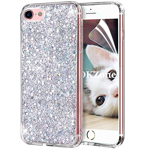 OKZone Cover iPhone 8,Custodia iPhone 7 Custodia Lucciante con Brillantini Glitters Ultra Sottile Designer Case Cover per Apple iPhone 7 / iPhone 8 4.7 Pollici (Argento)