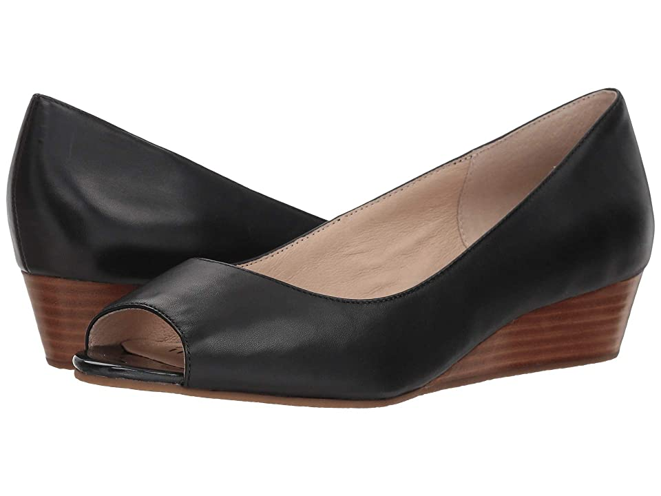 Vintage Style Shoes, Vintage Inspired Shoes Sudini Willa Black Leather Womens Wedge Shoes $130.00 AT vintagedancer.com