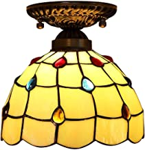 20cm Tiffany Style Ceiling Light,Stained Glass Shade Flush Mount Ceiling Lamp,European Retro Ceiling Lighting Fixtures for...
