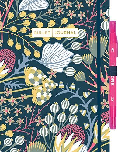 """Bullet Journal \""""Floral\"""" mit original Tombow TwinTone Dual-Tip Marker 22 pink: Mit Punkteraster, Seiten für Index, Key und Future Log sowie Lesebändchen, Stiftehalter und praktischem Verschlussband"""