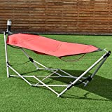 Giantex Portable Hammock with Stand, Folding Lounge Camping Bed with Carry Bag for Camping Outdoor Patio Yard Beach, 94.5'x31.5'x29' (Red)