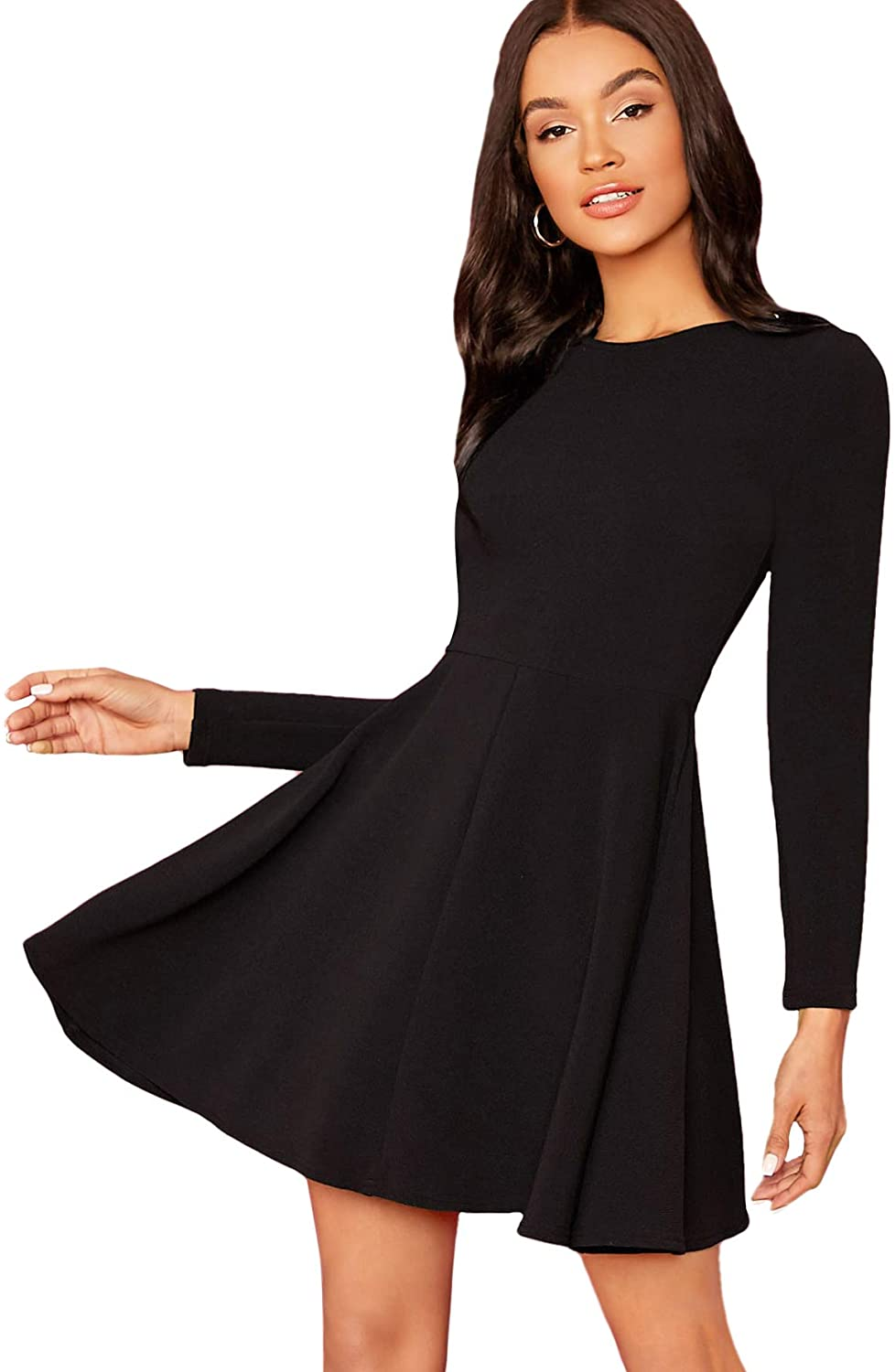 Floerns Women's Solid Casual Long Sleeve Fit and Flare Skater Dress