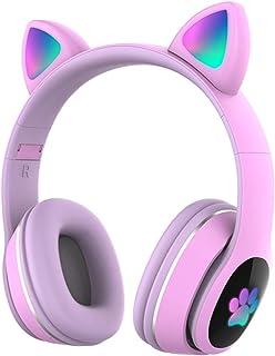 $22 » Doneioe L400 Over Ear Music Headset Glowing Cat Ear Headphones 7 Color Breathing Lights Foldable Wireless BT5.0 Earphone w...