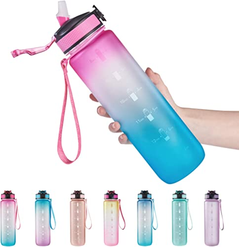 EYQ 32 oz Water Bottle with Time Marker, Carry Strap, Leak-Proof Tritan BPA-Free, Ensure You Drink Enough Water for F...