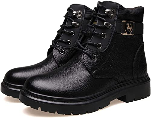 Oudan botas Cortas de Invierno Transpirables Antideslizantes Acolchadas y de Felpa para Hombre (Color   42, tamaño   Dark marrón)