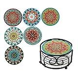 LOVECASA, Dessous de Verre Désign en Céramique, 6 Pièces avec Support, Style Marocain, Rond - 10cm