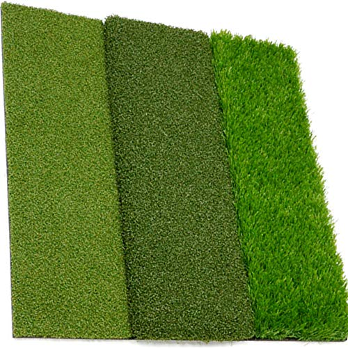 Green Ace Golf Hitting Mat for Backyard - 24 x 24 Inches XL Tri-Turf Golf Mats for Home Use - Portable Multi-Length Grass Driving Chipping Matt - Indoor Or Outdoor Practice Use with Case (24 x 24)