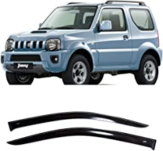CT Wind Visor Deflectors Set of 2-Piece - Car Ventvisor Door Side -Window Air Guard Deflectors for Protection Against Snow Sun and Rain Compatible with Suzuki Jimny 3D JB43 1998-2019 - Dark Smoke