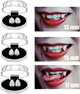 COOLJOY 3 Pairs Vampire Teeth Fangs with Adhesive Halloween Party Cosplay Props Horror Party Favors with 1 Tube Teeth Pellets Adhesive