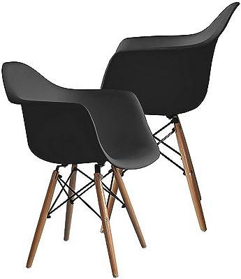 Monowi 2 PCS Contemporary Heavy Duty Accent Arm Chairs Natural Wood Legs, Black | Model CCNTCHR - 204