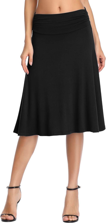 Urban CoCo Women's Ruched Waist Stretchy Flared Yoga Skirt High Waist Midi Skirt for Women