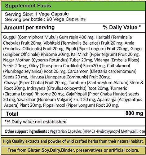 Saptavimastika Guggulu Concentrated (Herbal Supplement) 90 Vege Capsules, 800 Mg by Herbsforever