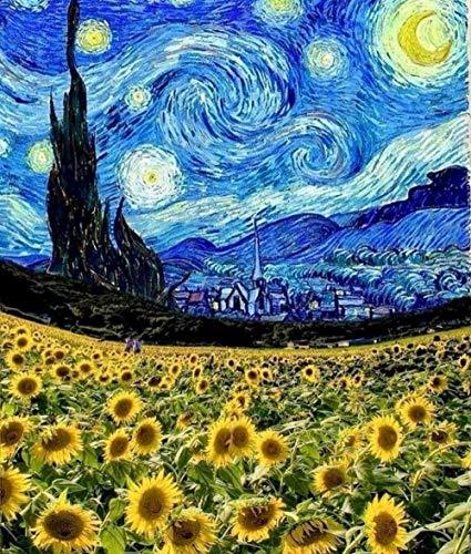 Ivansung Vincent Van Gogh Die sternenklare Nacht DIY Malen nach Zahlen für Erwachsene, Malen nach Zahlen Kit auf Leinwand für Anfänger, Neue Maler, Geschenkpaket 40X50Cm/15.8X19.7Inch