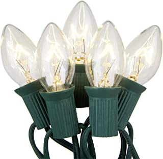 Goothy Outdoor Weatherproof Lighting Incandescent Replacement String Lights with 25FT Warm White Bulbs for Christmas Lights Commercial Grade(Plus 2 Extra Bulbs)-Clear
