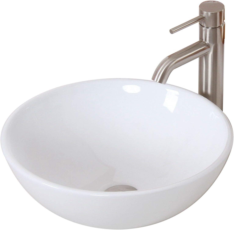 elite bathroom round white ceramic porcelain vessel sink brushed nickel single lever faucet combo