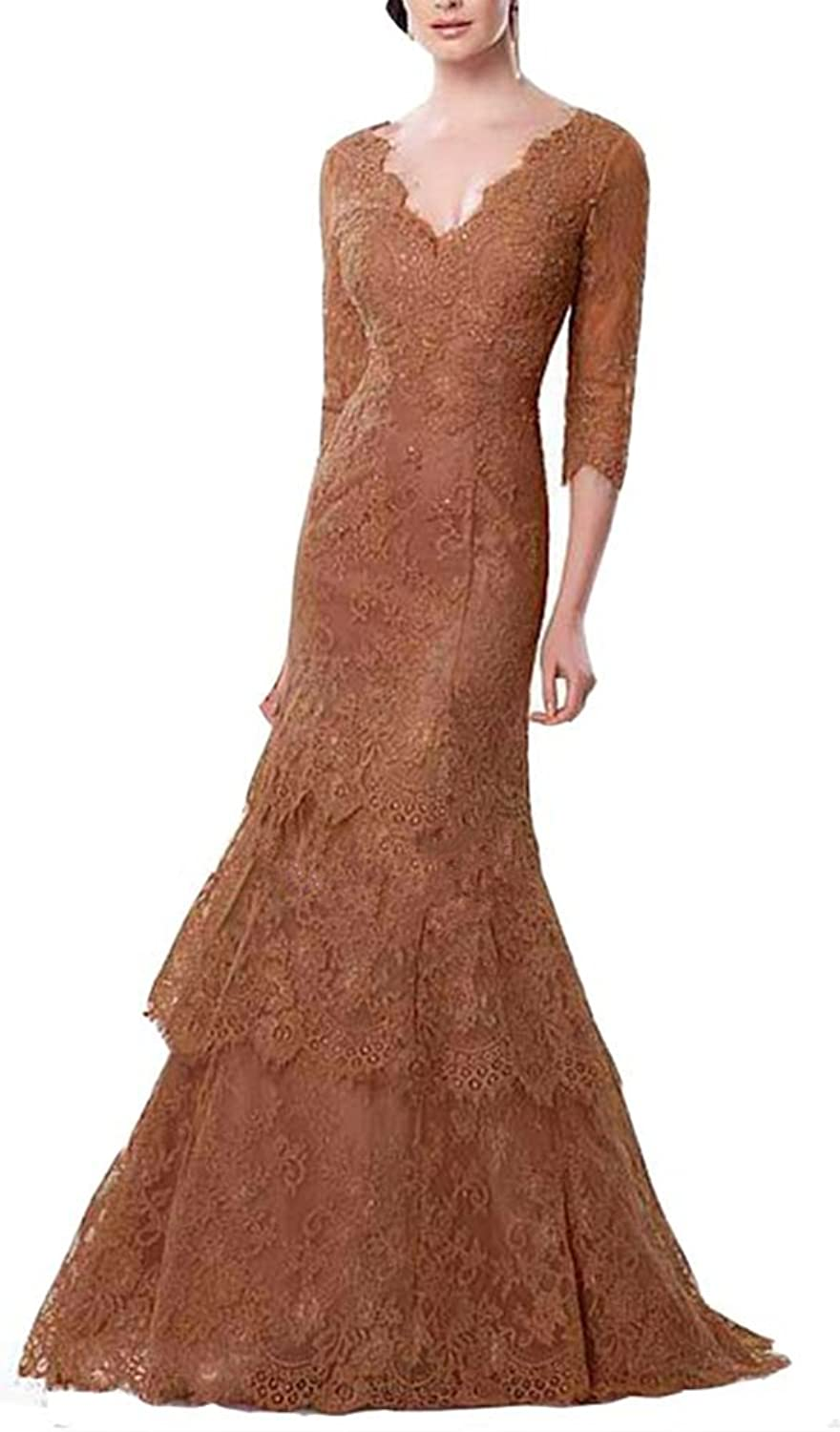 Emmani Women's Ball Gown vNeck Lace Mermaid Bride Mother