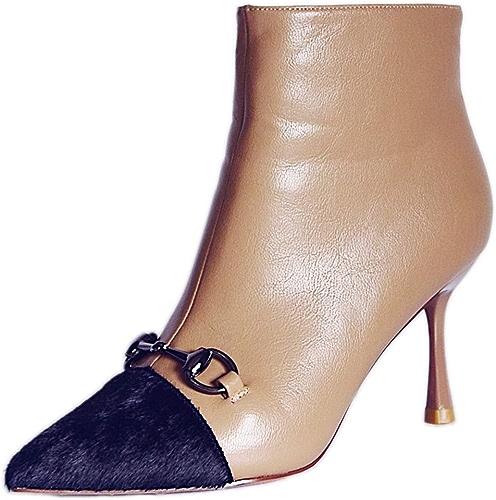 HBDLH Chaussures pour Femmes Bon Talon Bottes La Hauteur du Talon De 7 Cm à Canon Court Martin Bottes