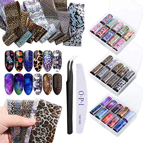 30 Rotoli Nail Foil Transfer Stickers, Serie Stellata, Serie di Fiori, Serie Leopard, Con Pinzette e Unghie, per Nail Art Adesivi Unghie Trasferimento Nail Transfer Foil
