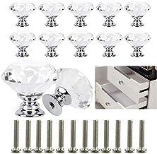 Xinlie Diamant Vorm Kristal Glas Lade Knop Trek Handvat Usd Helder Kristal Glas Diamant Deurknoppen Met Schroef voor Kast ...