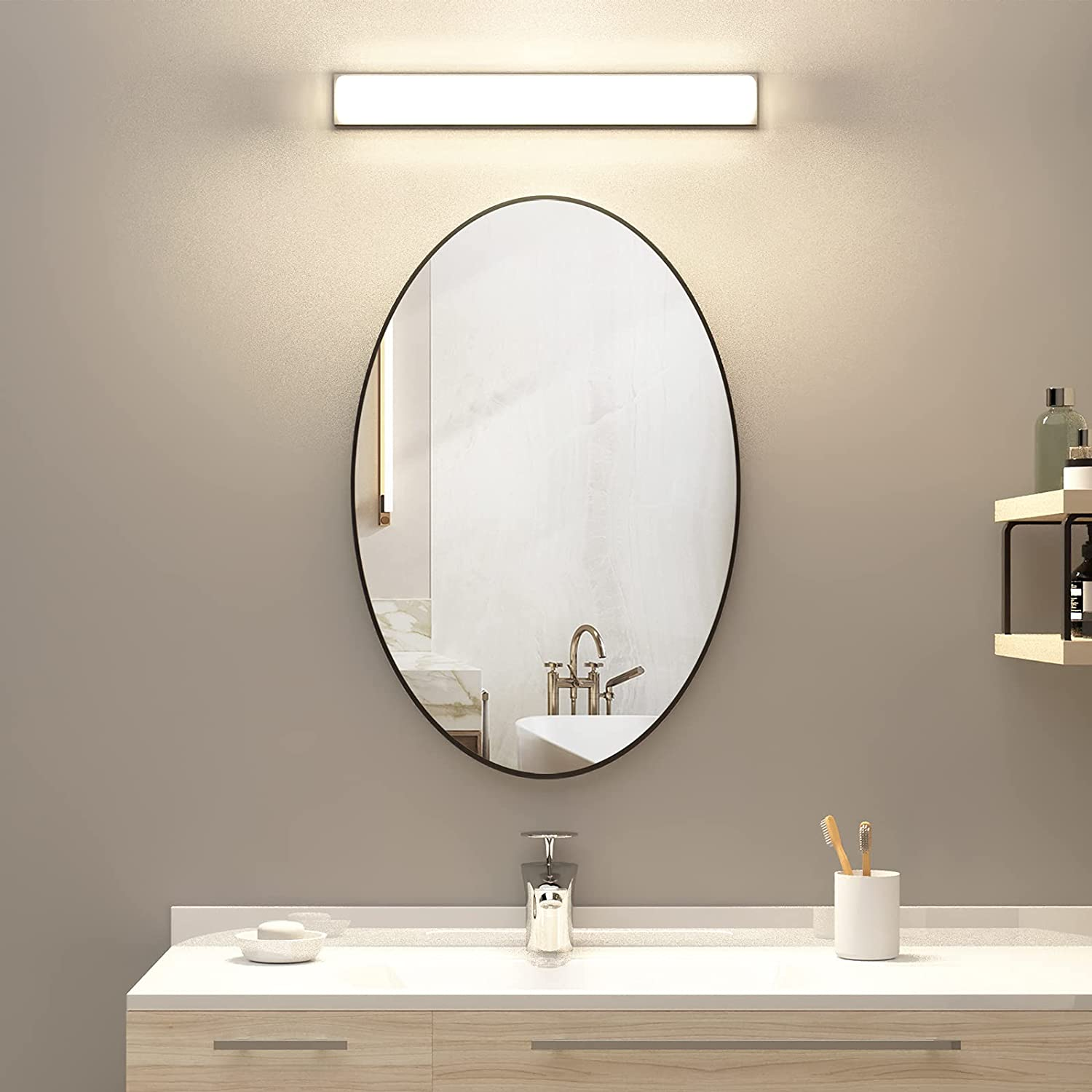 Buy Kaasunes Oval Wall Mirror With Coating Steel Frame 24 X 36 Inch Wall Mounted Bathroom Mirror Rusty Free For Home Decorative Living Room Washroom Entryway Hanging Online In Indonesia B07sm4whjp