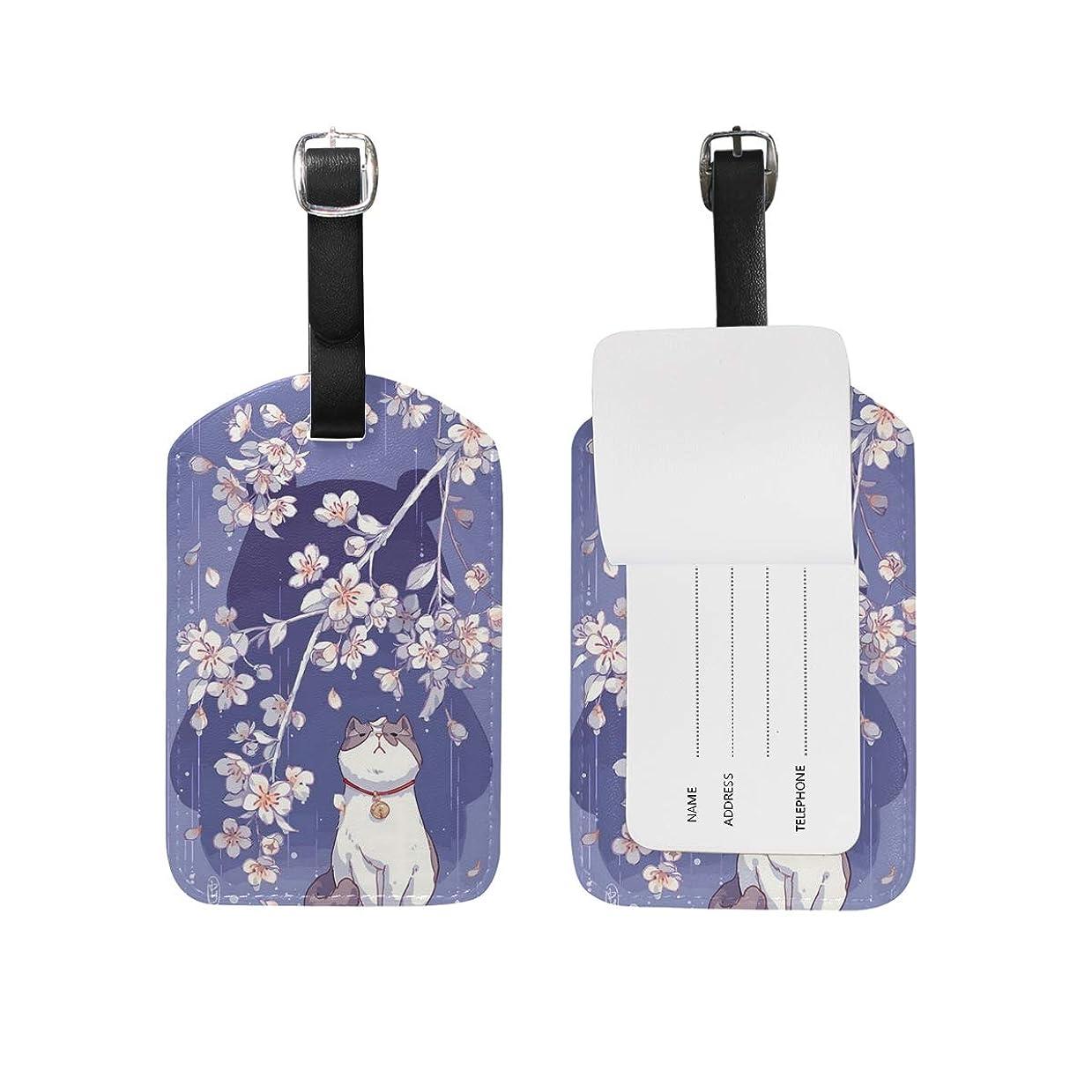 代名詞ギャザーハムAnmumi ラゲージタグ 名札 荷物タグ 猫柄 桜 スーツケースタグ ベルト付き トーテム 旅行用品 出張 レディース メンズ 男女兼用 かわいい