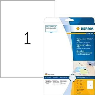 HERMA Etichette per Marcatura, 210 x 297 mm, Etichette Adesive A4 per Stampante, 1 Etichette per Foglio, Trasparente
