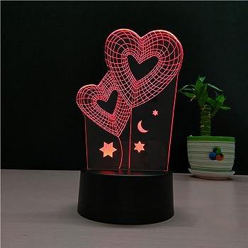 3d lamour coeur Illusion lampe de lumi/ère de nuit 7 couleurs changeantes Touch USB Table Nice Cadeau jouet D/écoration