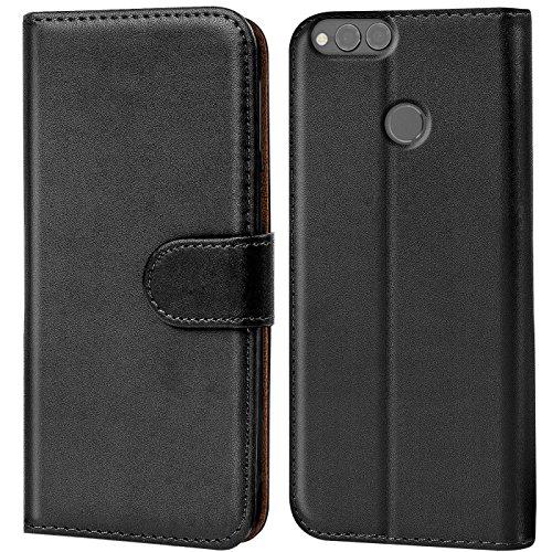 Verco Huawei Honor 7 x Hülle, Handyhülle für Honor 7X Tasche PU Leder Flip Hülle Brieftasche - Schwarz