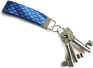 Miniblings Schlüsselanhänger Upcycling Unikat Vintage blau Mini Muster - Handmade Modeschmuck I Anhänger Schlüsselring Schlüsselband Keyring