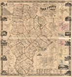 1856 map of York County, Maine|Size 22x24 - Ready to Frame| Cadastral Landowners|Maine|Real Property|York County|York County Me